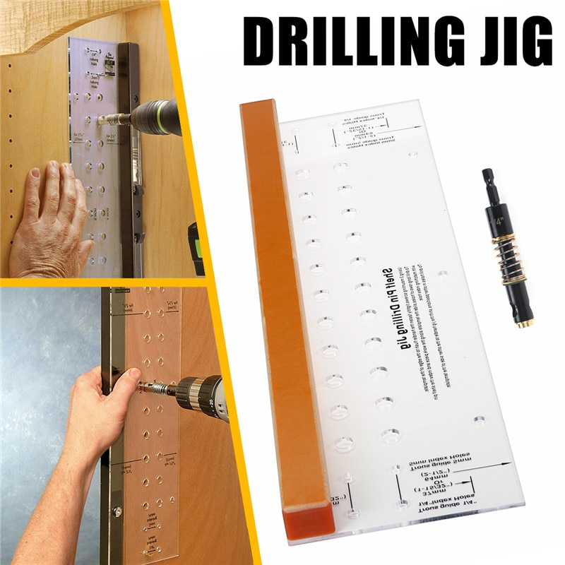 Shelf Pin Drilling Jig with 1/4 Inch Self Centering Bit for Door Cabinet Furniture Woodworking Multifunctional Drilling Jig