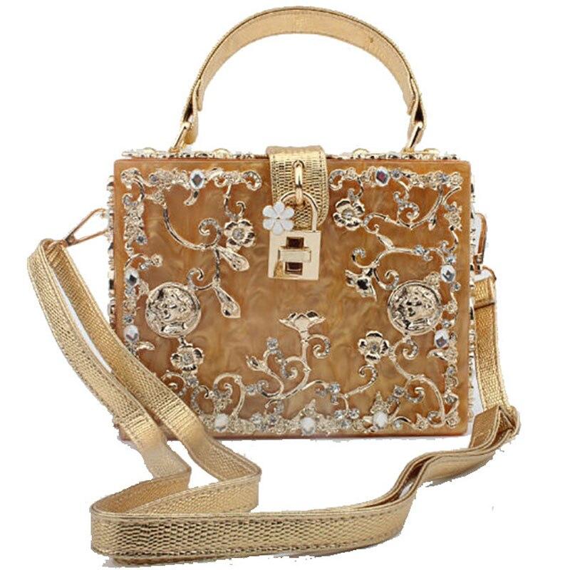European And American Acrylic Dinner Bag Liekong Metal Carved Diamond Handbag Shoulder Crossbody Ladies Bag