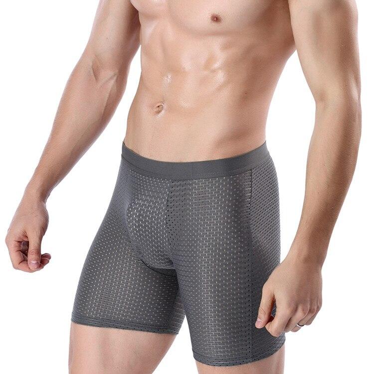 Mens shorts Ice Silk Cool Comfort Breathable underpants Mesh Long Leg Brief  Viscose Underwear for Men pants innerwear Gift