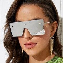 Oversized Flat Top Mirror Sunglasses 2020 Women Luxury Brand Large Rimless Eyewear One Piece Square