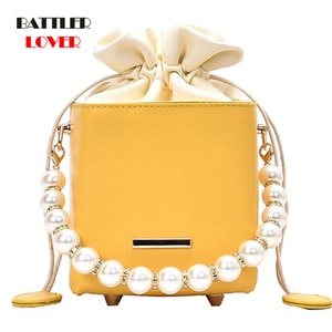 Pearls Chain Luxury Design Small Crossbody Handbags For Women 2021 Solid Color Fashion Wild Shoulder Bags Lady PU Leather Purses