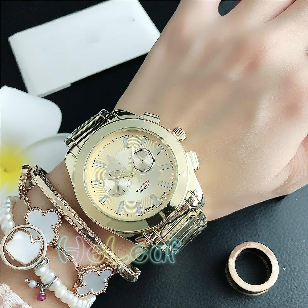 De lujo de las mujeres de la moda relojes redondo de oro de plata de acero inoxidable banda P reloj de cuarzo MANI mujer reloj MontreFemme reloj de mujer