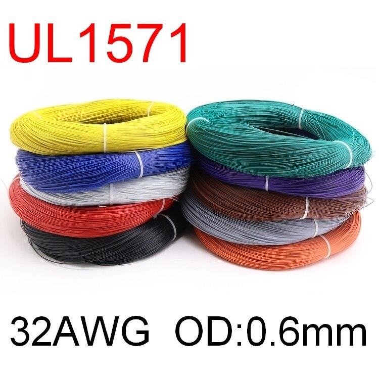 5m ul1571 32awg pvc fio eletrônico od 0.6mm cabo flexível isolado estanhado cobre ambiental led linha diy cabo 1 metro