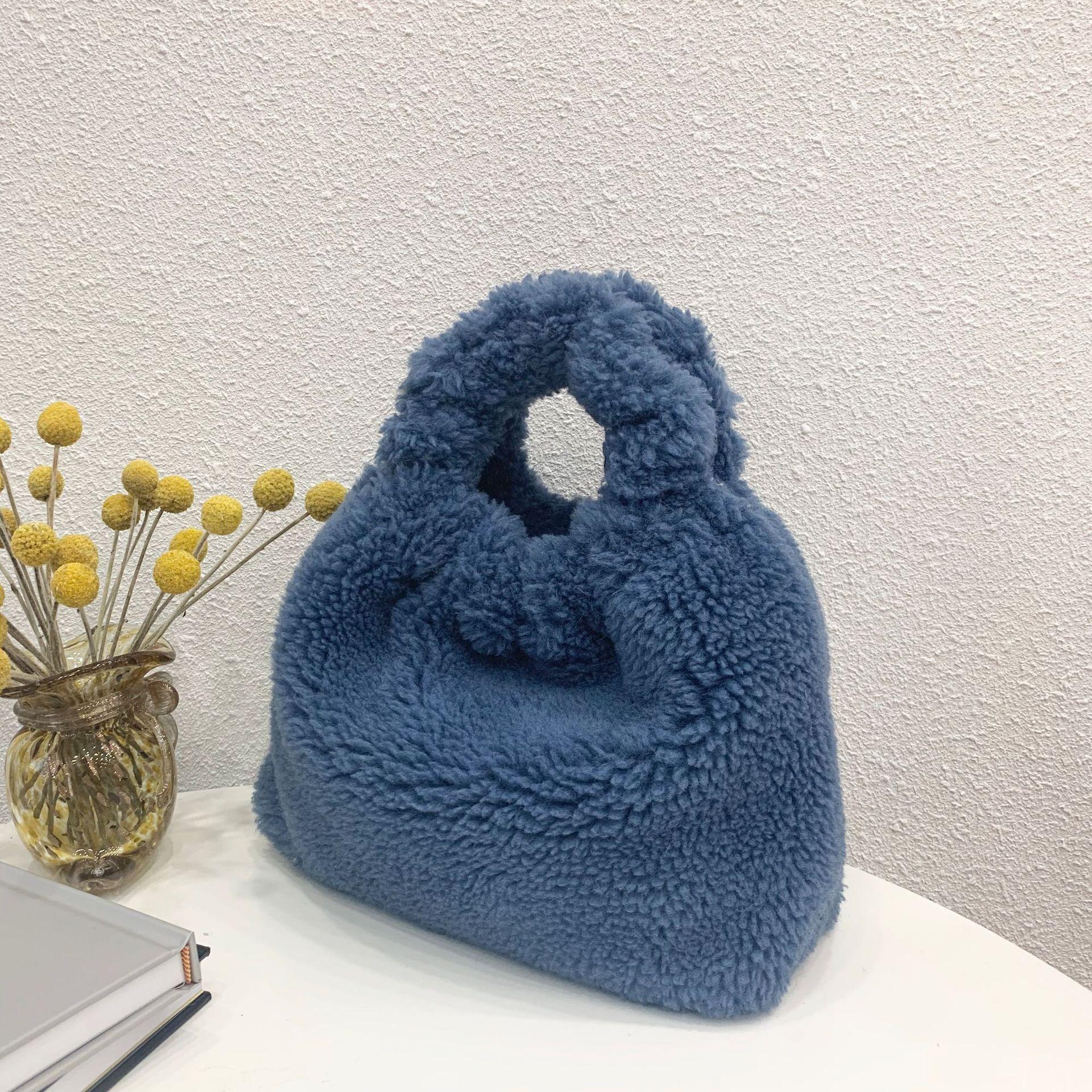 Women's Fashion New Large Particles of Panax Notoginseng Wool Velvet Fur Fur Bag Fold Style Handbag Messenger Bag Wholesale
