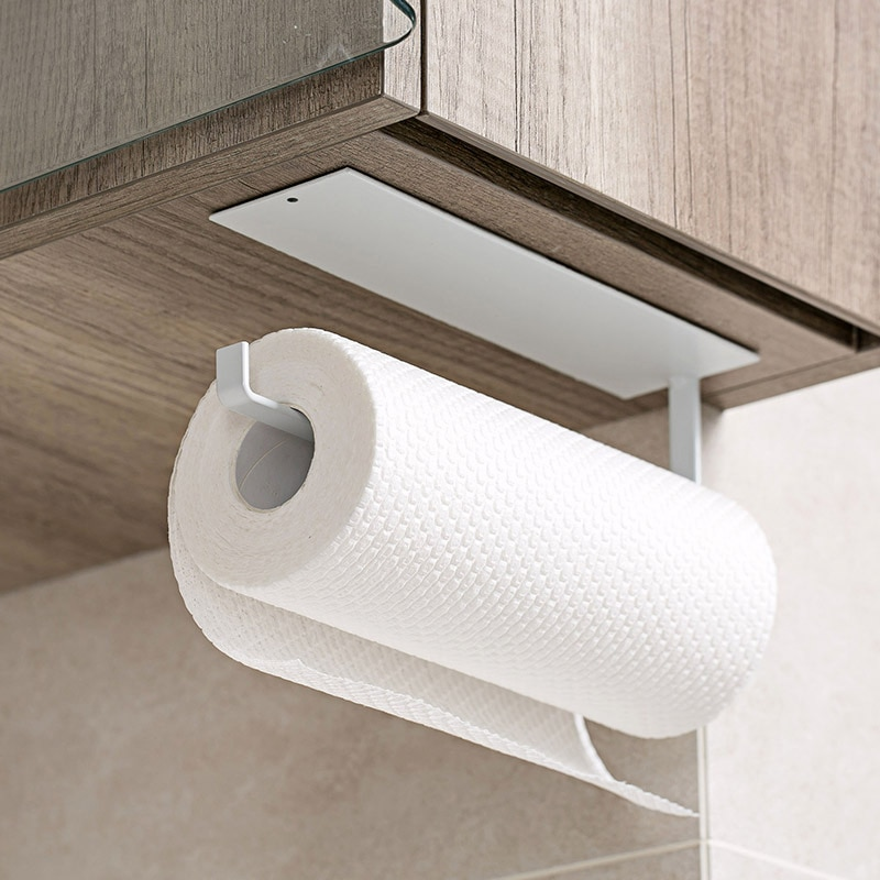 Kitchen Self-adhesive Paper Towel Holder Toilet Paper Hanger Roll Paper Storage Rack Wall Hanging Shelf Bathroom Organizer Shelf self adhesive roll paper holder bathroom toilet paper holder kitchen towel holder rack tissue hanger rack hanging organizer