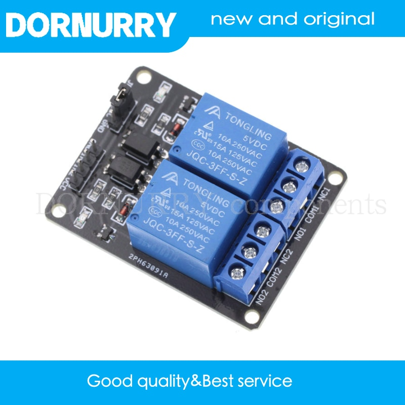 купить 1PCS Components 5V 2 Channel Relay Module Shield for Arduino ARM PIC AVR DSP Electronic  2-way relay module DORNURRY в интернет-магазине