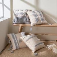 topfinel tassel cotton linen cushion cover beige decorative texture pillow cover for living room bedroom pillowcases 45x45cm