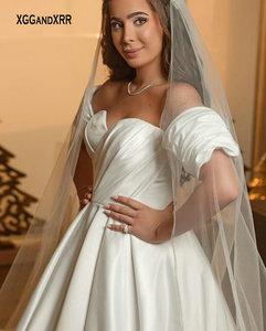 New Arrival Matte Satin A Line Wedding Dress 2021 Royal train Bridal Gown Backless Formal White Ivory Bride Dresses Plus Size