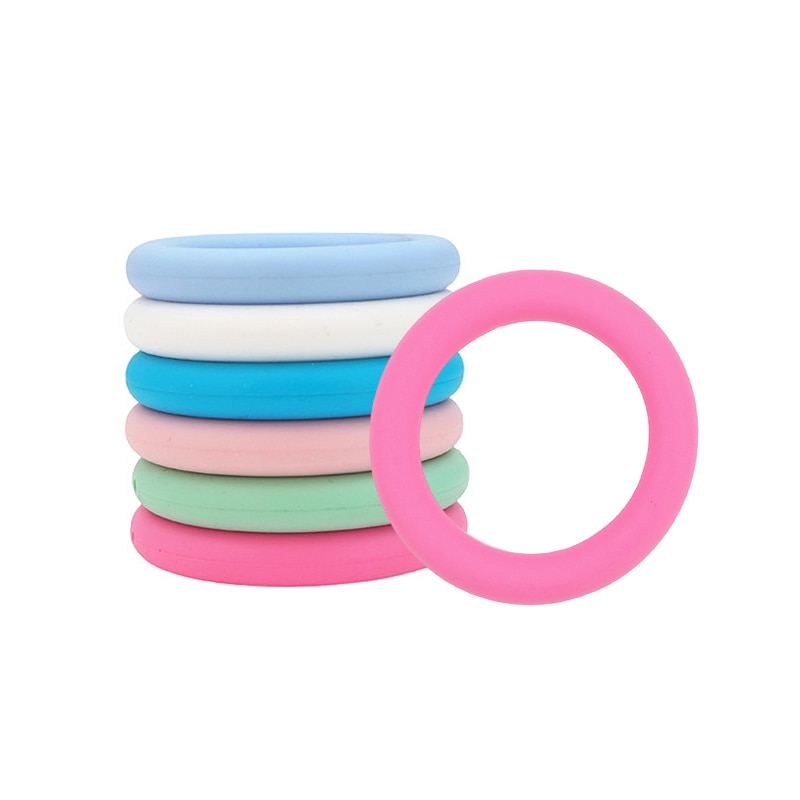 TKB Baby Toys 50pcs Silicone O Ring Teethers Health Bpa Free Pacifier Nipples Rattles  Babies Accessories Newborn For Teeth Care