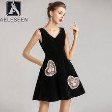 AELESEEN 2020 New Arrival Elegant Black Party Velvet A-Line Dress Luxury Diamonds Collar & Floral Appliques Sequined Mini Dress