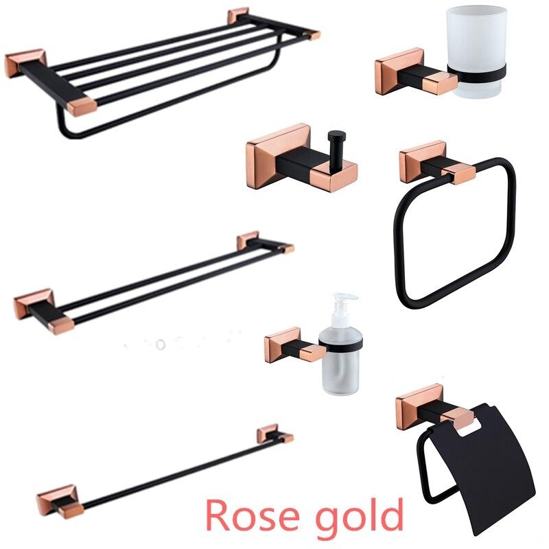 Brass Rose Gold and Black Bathroom Hardware Set Ceramic Toilet Brush Holder Metal Paper Holder Robe Hook Bathroom Accessories