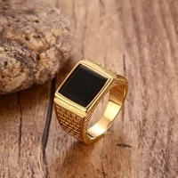 men high quality metal punk black stone gold ring europe and america style rock party jewelry