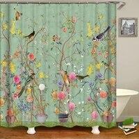 Rideaux de douche darbre de fleur et doiseaux de Style chinois  rideau de bain impermeable  decor de salle de bain avec crochets  rideau de bain imprime 3d