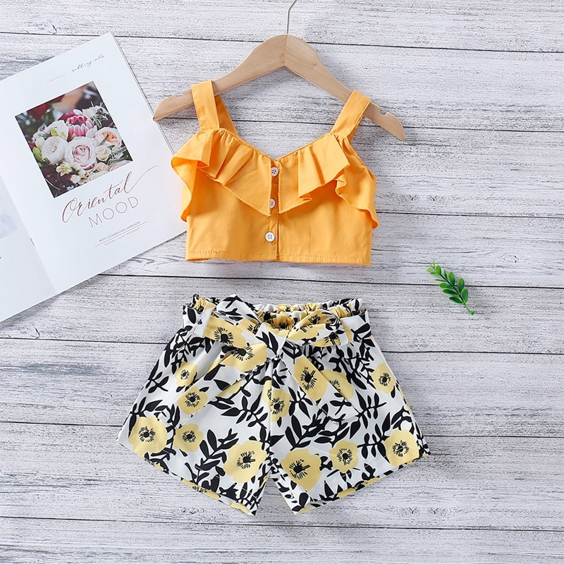 Baby Kids Girls Clothes Set Summer Short-sleeved Suit Print Ruffle Halter Top + Printed Shorts 1-6T Girl Clothing