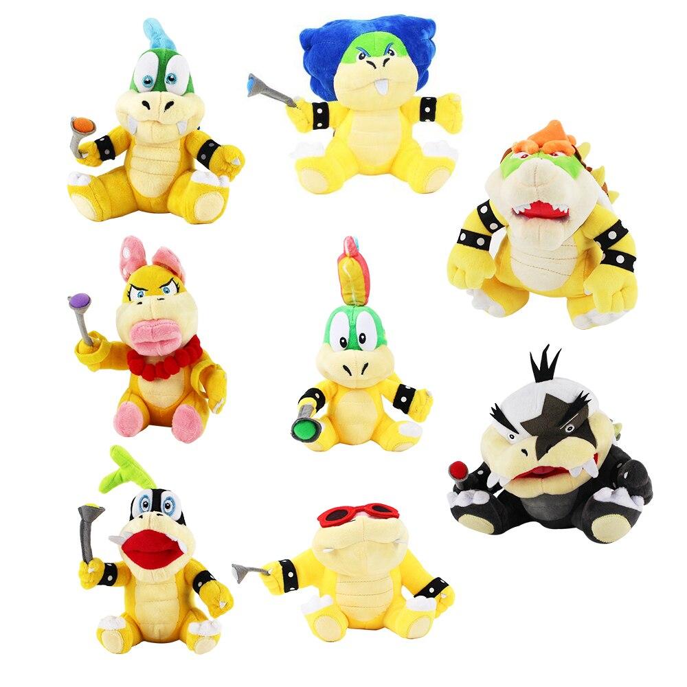 8 teile/satz Super Mario Koopalings Plüsch Spielzeug Wendy LARRY IGGY Ludwig Roy Morton Lemmy bowser O.Koopa Plüsch Spielzeug