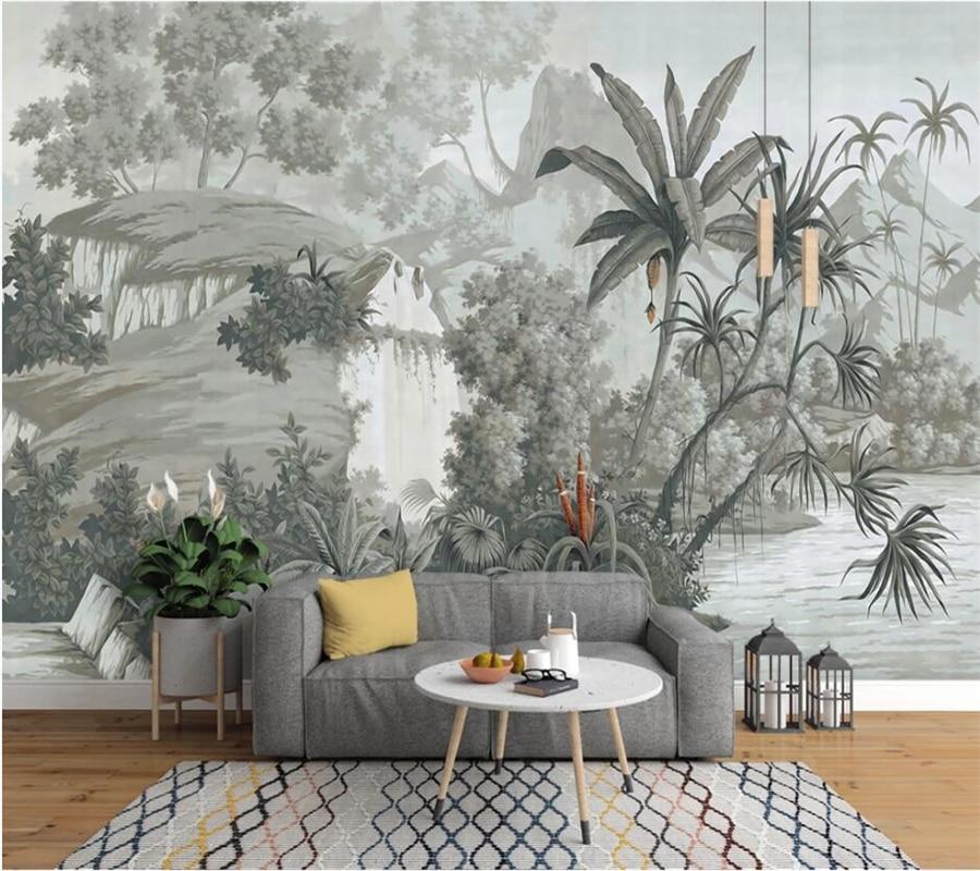 Papel tapiz personalizado 3d estilo europeo retro nostálgico pintado a mano, selva...