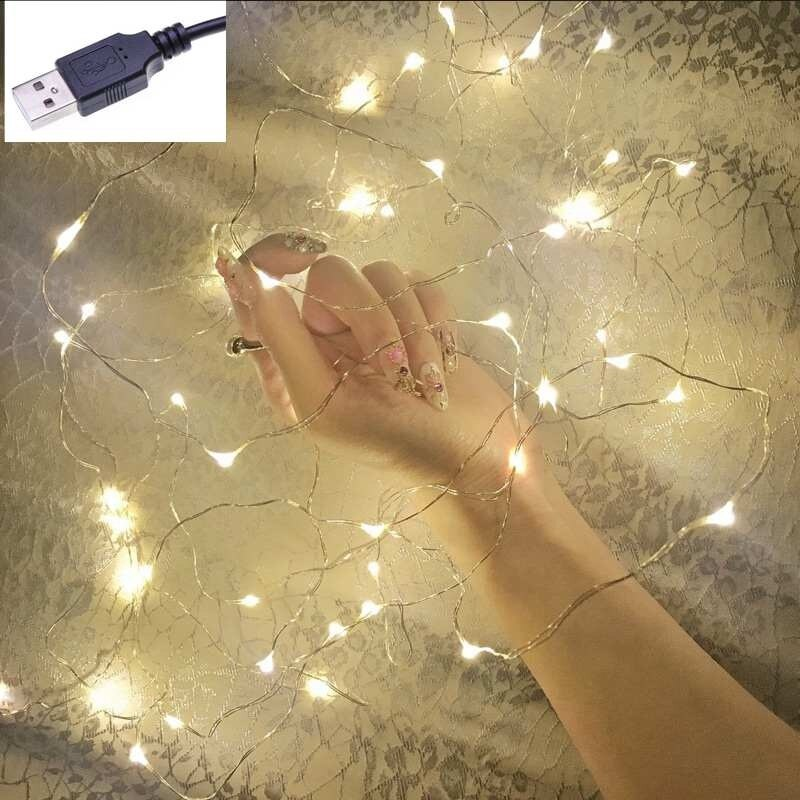 1M 5M 10M Copper Silver Wire USB LED String lights Waterproof Holiday lighting For Fairy Christmas Wedding Party Decoration zdm 10m usb copper wire waterproof led string light 100 leds for festival christmas party decoration dc5v