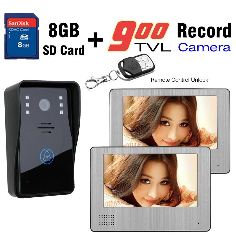 900TVL HD Камера видео-телефон двери 7 дюймов ЖК-дисплей монитор видео домофон 8 Гб SD карты запись дистанционная разблокировка видео-дверной зво...