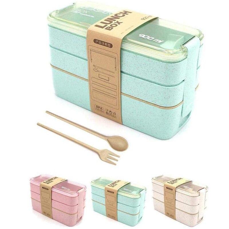 Fiambrera para niños de 2 y 3 capas de Material saludable, fiambrera de 750ml y 900ml, contenedor de comida Bento japonés apto para microondas