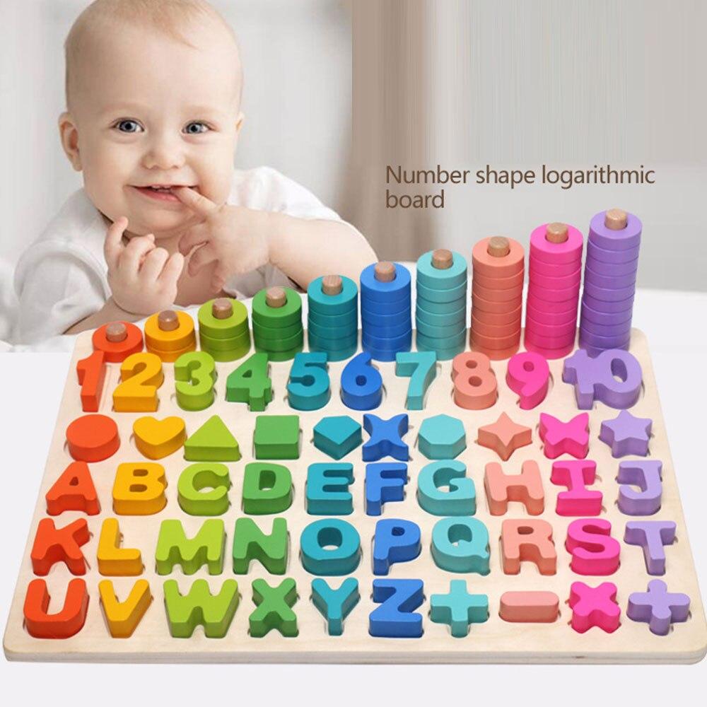 Juguete Montessori de madera 6 en 1 para niños, juguetes educativos tempranos Teaching Math para niños con letras digitales de conteo de correspondencia cognitiva