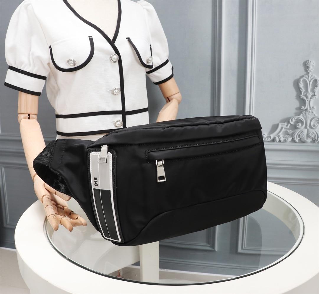 Men's black nylon belt bag casual all-match men's belt bag waterproof messenger bag sports messenger shoulder bag