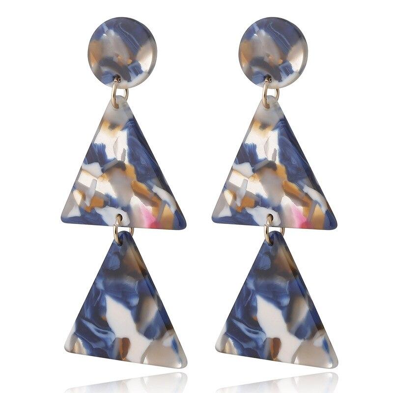 Pendientes triangulares con borlas para mujer, aretes colgantes de acetato bohemio 2021,...