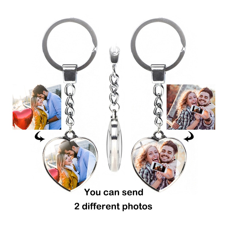 Double-sided different photo keychain custom crystal commemorative lover baby jewelry female personalized car decoration gift