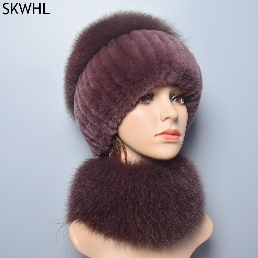 2021 Hot Sale Winter Soft Warm Women Real Rex Rabbit Fur Scarf Hat Fox Cap Ring Shawl Natural Scarves Hats