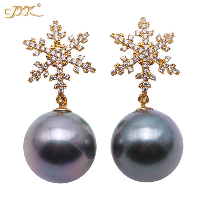 JYX – boucles d'oreilles en forme de flocon de neige, charmant bijou en or 14k, perle de Tahiti en zircon naturel de 2020mm, 11.5