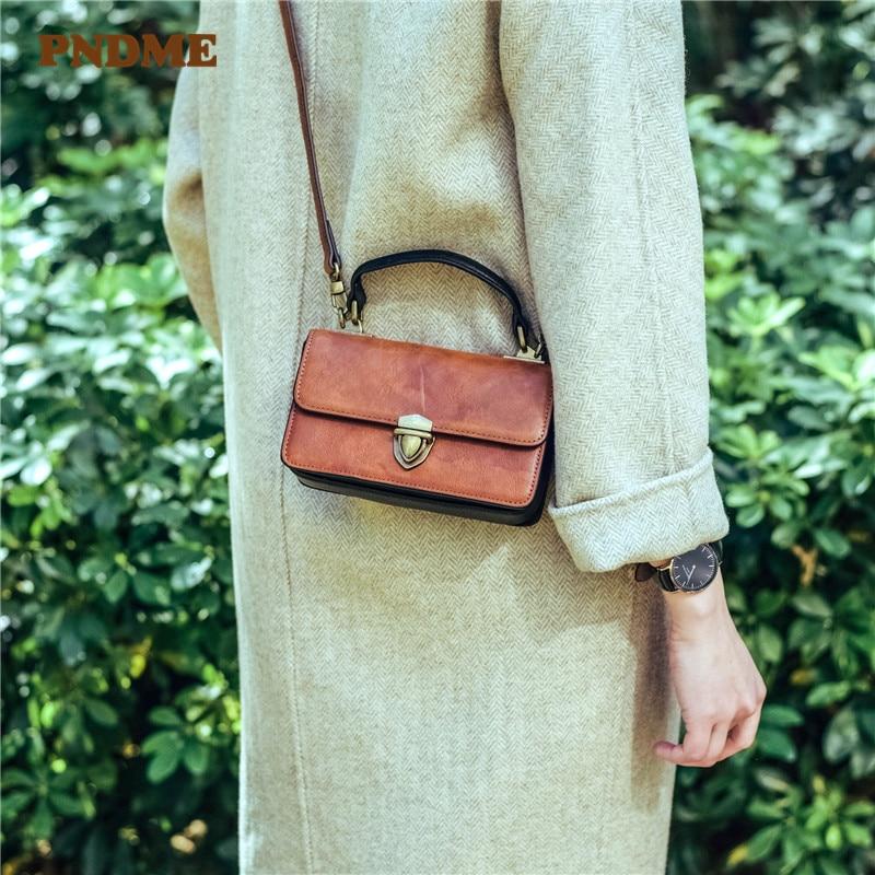 PNDME fashion vintage genuine leather ladies mini handbag weekend daily party natural cowhide women's cute small crossbody bags