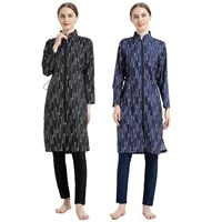 digital printed muslim swimwear southeast asian hui conservative waist three piece sportswear swimming suit women
