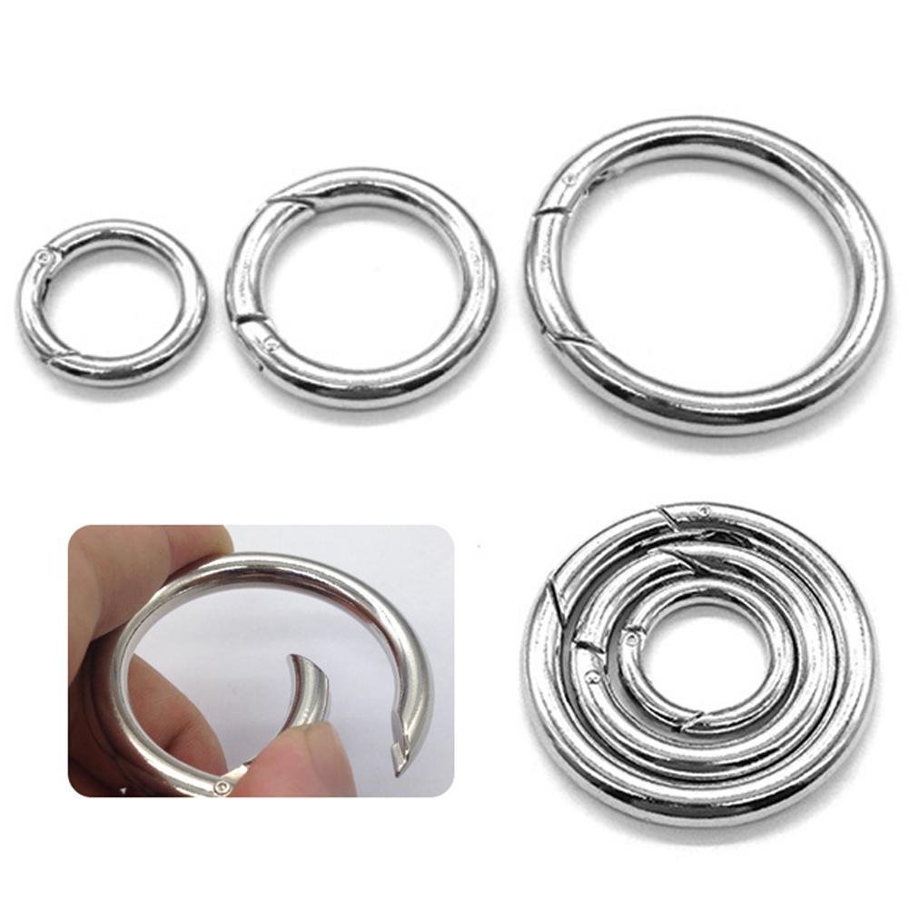 1PC Zinc Alloy Round Hiking O-ring Keyring Spring Snap Hook Clip Buckle Purses Handbags Round Push Trigger Snap Hooks Carabiner