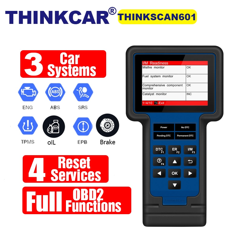 Car OBD2 Diagnostic Tool THINKSCAN 601 For En/ABS/SRS & 4 Reset Services PK NT650 CRP123E Code Reader Thinkcar TS601 Free Update