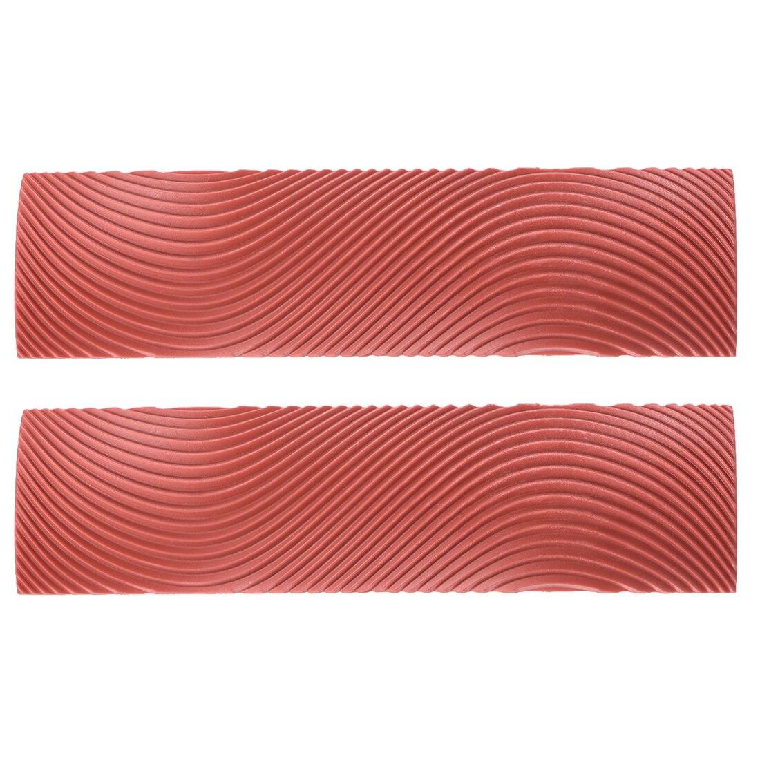 Uxcell 2 قطعة 6 بوصة S-نمط الخشب المحبب المطاط الحبوب أداة نمط جدار الطلاء الأحمر MS9