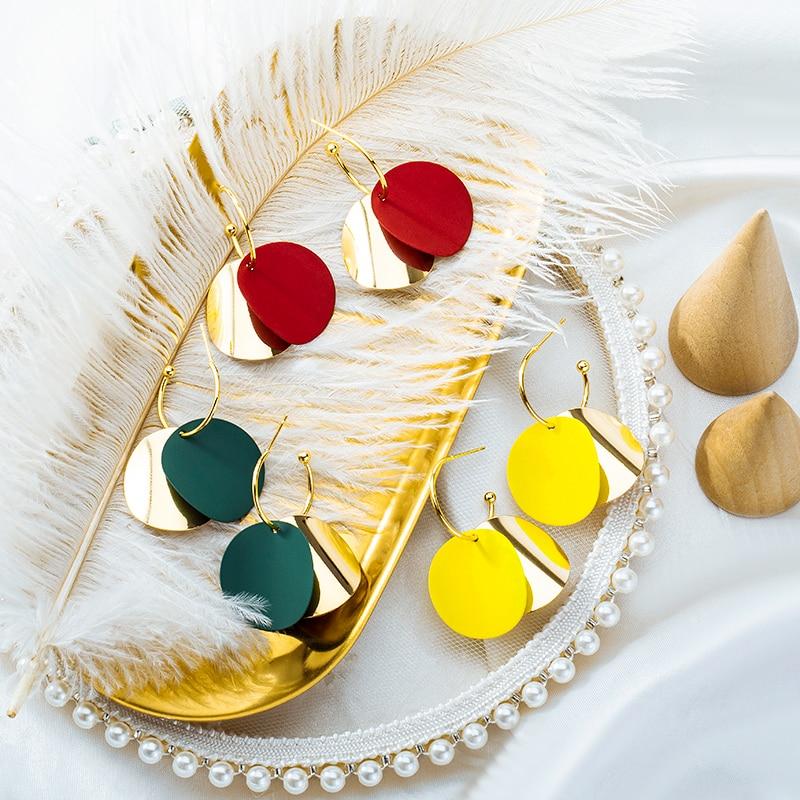 LOVR, nuevos pendientes coreanos de lentejuelas doradas para mujer, moda 2020, pendiente colgante geométrico, joyería femenina