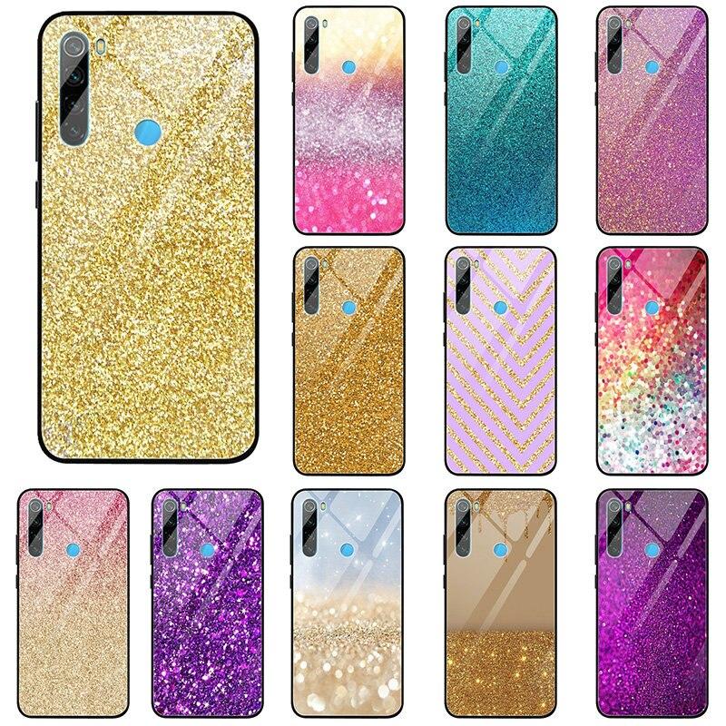 Bonitas fundas de teléfono de cristal templado rosadas brillantes para Xiaomi Mi Redmi Note 4 4X 5 6 7 8 9 SE A1 A2 Lite Pro Shell