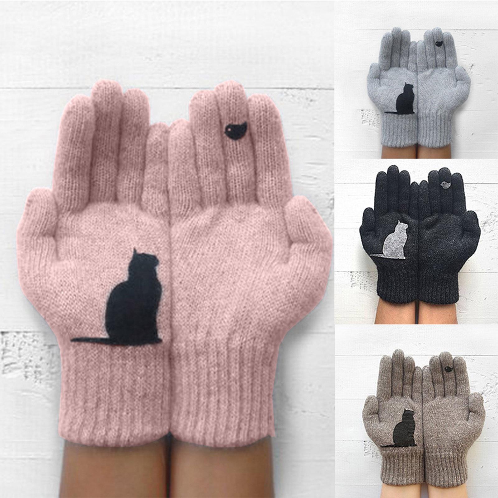 Gloves women Ladies Woolen Gloves Autumn And Winter Outdoor Warm Cat Printing Gloves перчатки зимние женские