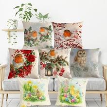 Christmas Cushion Cover Print Pillow Christmas Gifts Pillow Cover Bedroom Cushion Cover Cute Dog Cat Christmas Balls Sofa Decor