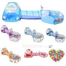 3 In 1 Set Opvouwbare Grote Zwembad Kinderen Kruipen Tunnel + Play Tenten + Baby Oceaan Ballenbad Kids Play huis Set Kinderen Spel Speelgoed