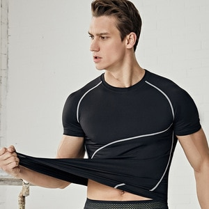 Fitness Clothes Men's Elastic Short-Sleeved Quick-Drying Clothes Running Fitness Basketball Fitness Shirt Training T-shirt