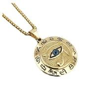 classical eye of horus muslim rune pattern round pendant necklace mens necklace sliding pendant metal amulet jewelry