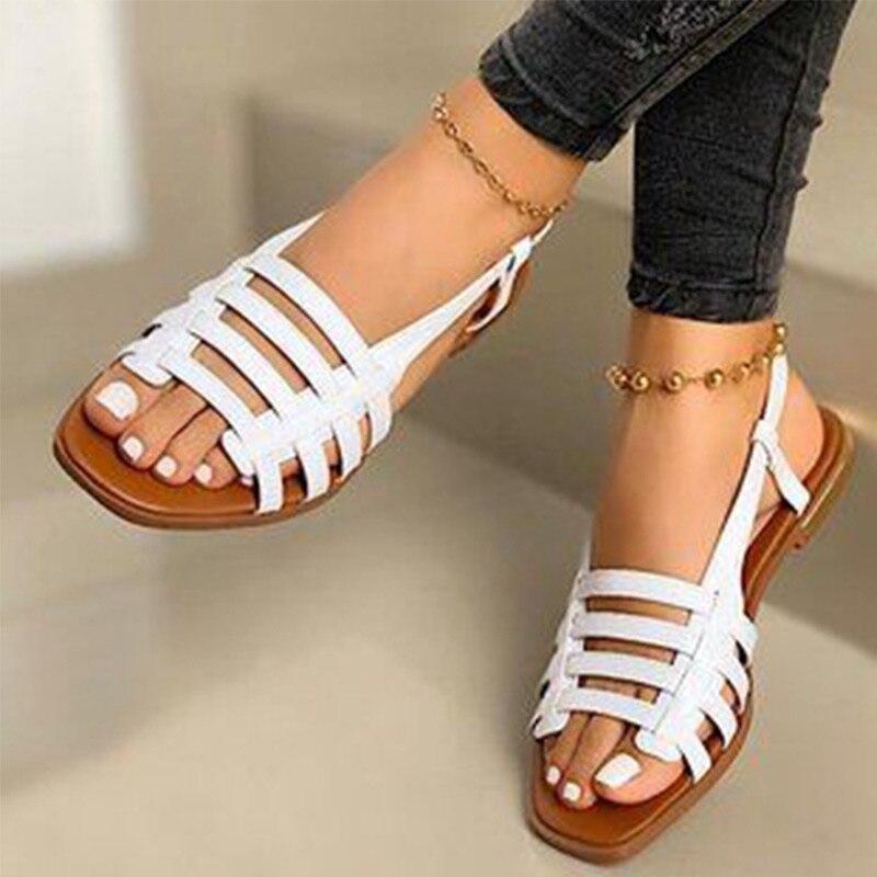 Sandalias De Verano Planas Para Mujer Zapatos Femeninos De Talla Grande 43 Con Banda Elástica Dorada Y Negra Para Playa 2020 Sandalias De Mujer Aliexpress