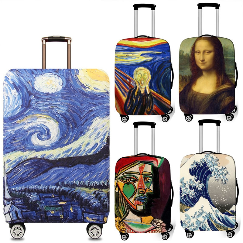 The New Van Gogh Mona Case For Suitcase Cover Spandex Stretch Thickened Wear-resistant Dust Cover Travel Accessories 19-32 inch