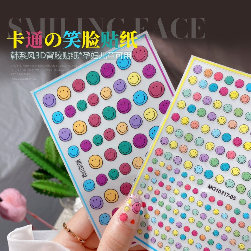 New Product 3D Nail Art Sticker Smiley Love Cute Cartoon Nail Art Decoration colourful smile stickers фото