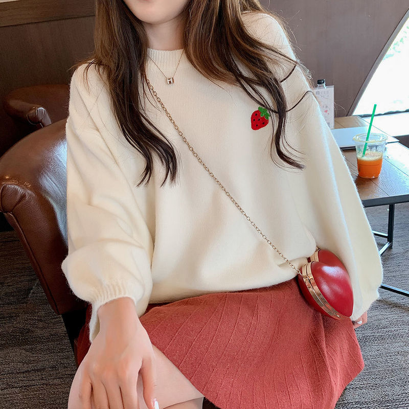 Fruit Embroidery Sweater Women Candy Color Pullover Female Round Neck Loose Casual Cute Knitted Autumn Winter Sweaters New Woman