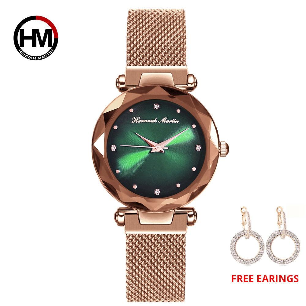 Reloj femenino 1 set reloj MIYOTA cielo estrellado relojes con correa de rejilla hebilla magnética moda Casual reloj de pulsera femenino impermeable