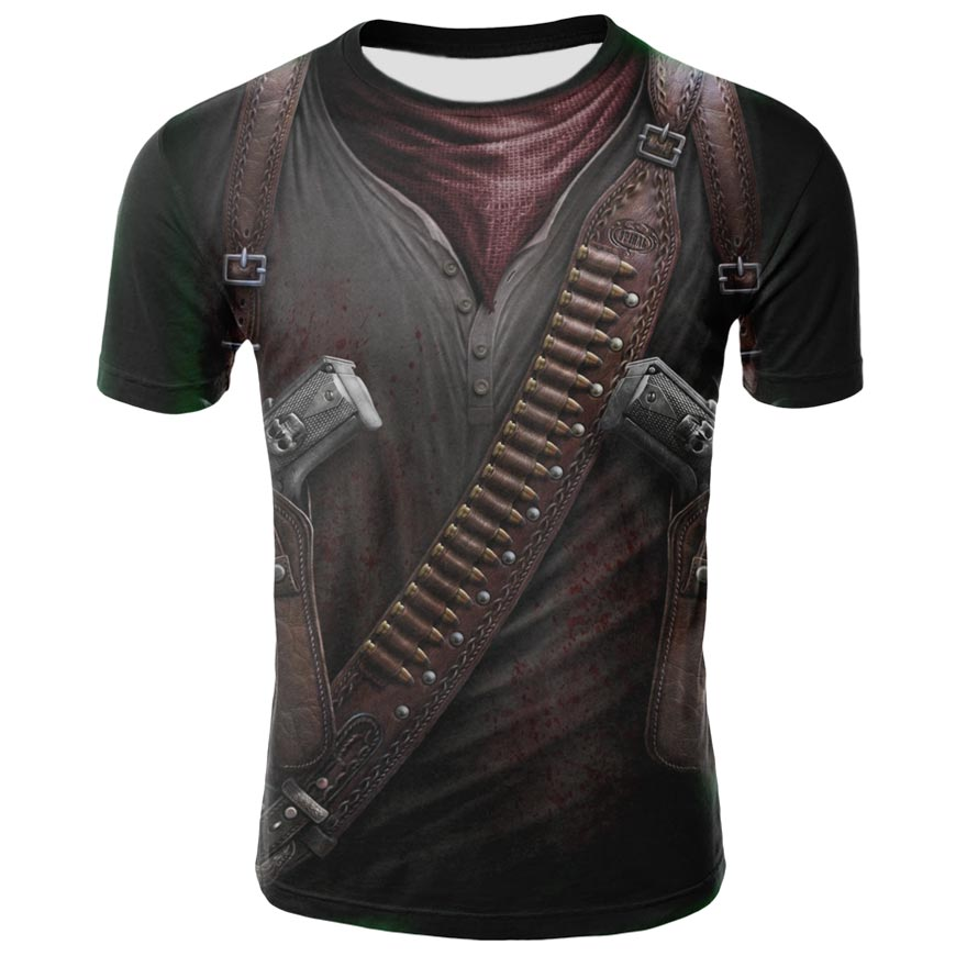 Verano 2019 última camiseta caliente con estampado de calavera en 3D para hombre de moda de manga corta casual transpirable de cuello redondo Camiseta