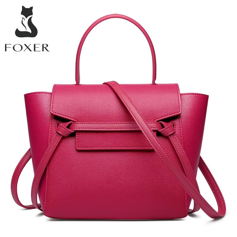 FOXER المرأة سعة كبيرة حقيبة ساعي جلدية المرأة عادية كل مباراة حقيبة كتف أنيقة السيدات موضة حقيبة يد حمراء