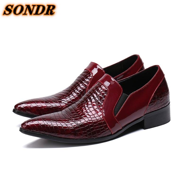 Formal De cuero genuino zapatos De punta De los hombres De negocios...