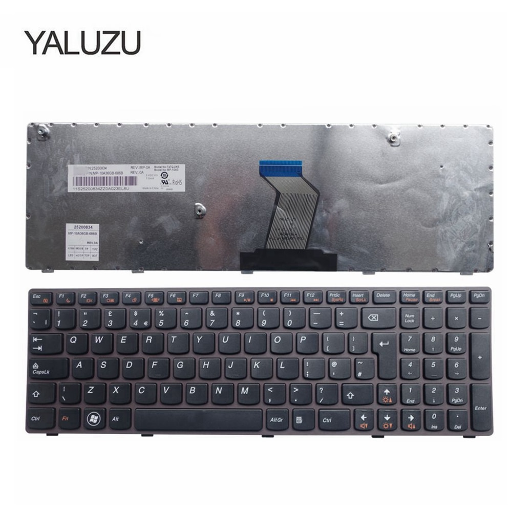 YALUZU Reino Unido para LENOVO V570 V570C V575 Z570 Z575 B570 B570A B570E V580 V580C B570G B575 B575A B575E B590 B590A teclado del ordenador portátil